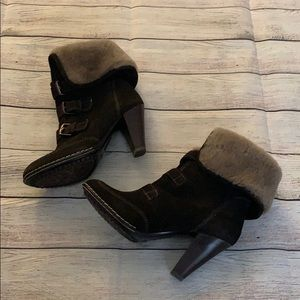 Sofft Skagen Brown Suede Shearling Cuff Boots